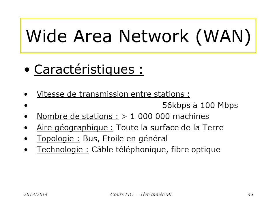 Wide Area Network (WAN) Caractéristiques : Vitesse de transmission entre stations : 56kbps à 100 Mbps Nombre de stations : > 1 000 000 machines Aire g