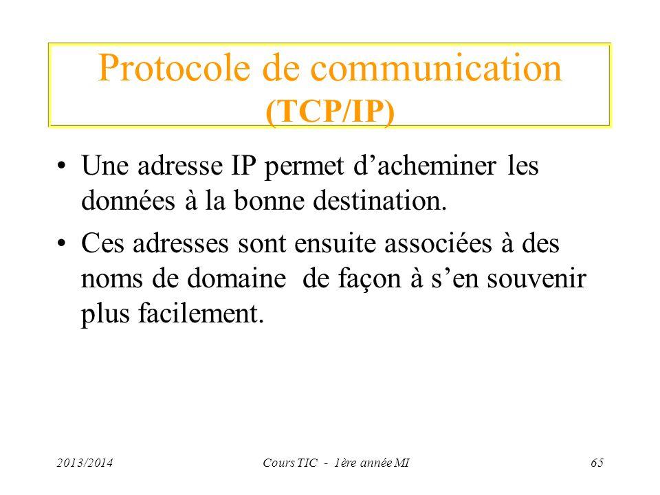 Protocole de communication (TCP/IP) Une adresse IP permet dacheminer les données à la bonne destination. Ces adresses sont ensuite associées à des nom