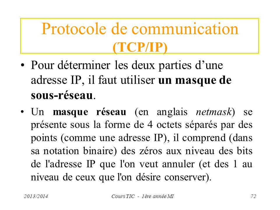 Protocole de communication (TCP/IP) Pour déterminer les deux parties dune adresse IP, il faut utiliser un masque de sous-réseau. Un masque réseau (en