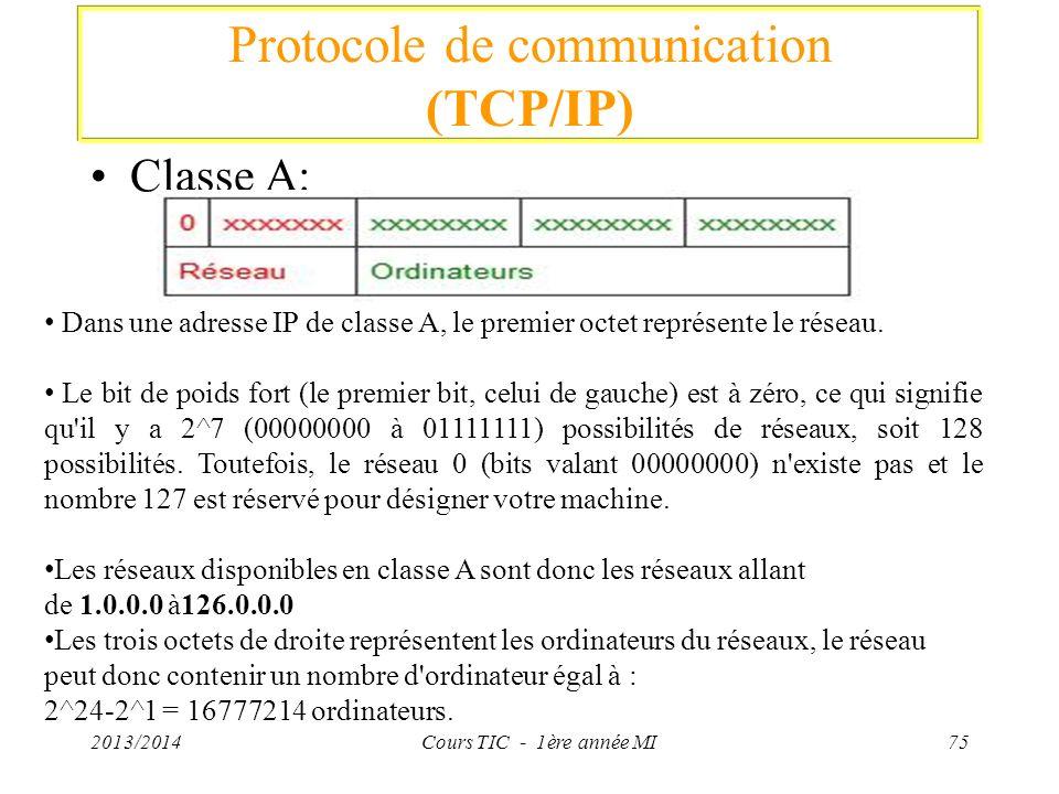 Protocole de communication (TCP/IP) Classe A: 2013/2014Cours TIC - 1ère année MI75 Dans une adresse IP de classe A, le premier octet représente le rés
