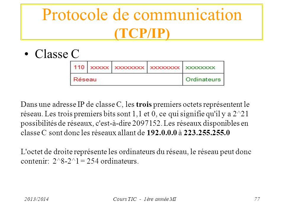 Protocole de communication (TCP/IP) Classe C 2013/2014Cours TIC - 1ère année MI77 Dans une adresse IP de classe C, les trois premiers octets représent