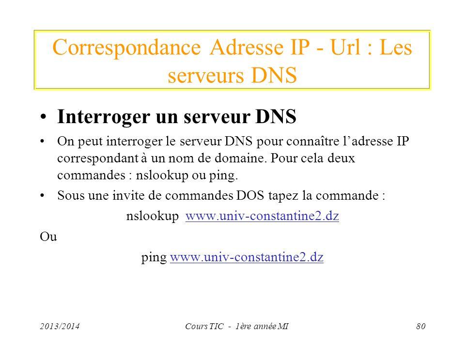 Correspondance Adresse IP - Url : Les serveurs DNS Interroger un serveur DNS On peut interroger le serveur DNS pour connaître ladresse IP correspondan
