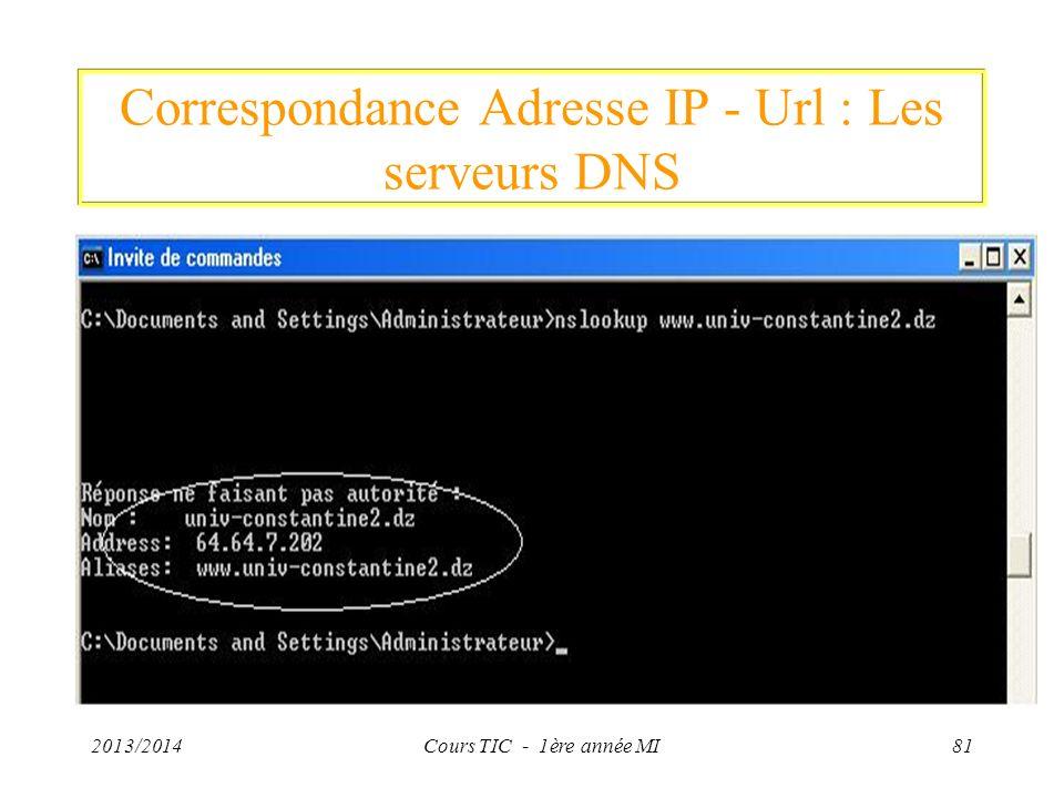 Correspondance Adresse IP - Url : Les serveurs DNS 2013/2014Cours TIC - 1ère année MI81