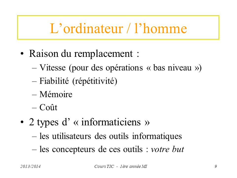 2013/2014Cours TIC - 1ère année MI9 Lordinateur / lhomme Raison du remplacement : –Vitesse (pour des opérations « bas niveau ») –Fiabilité (répétitivi