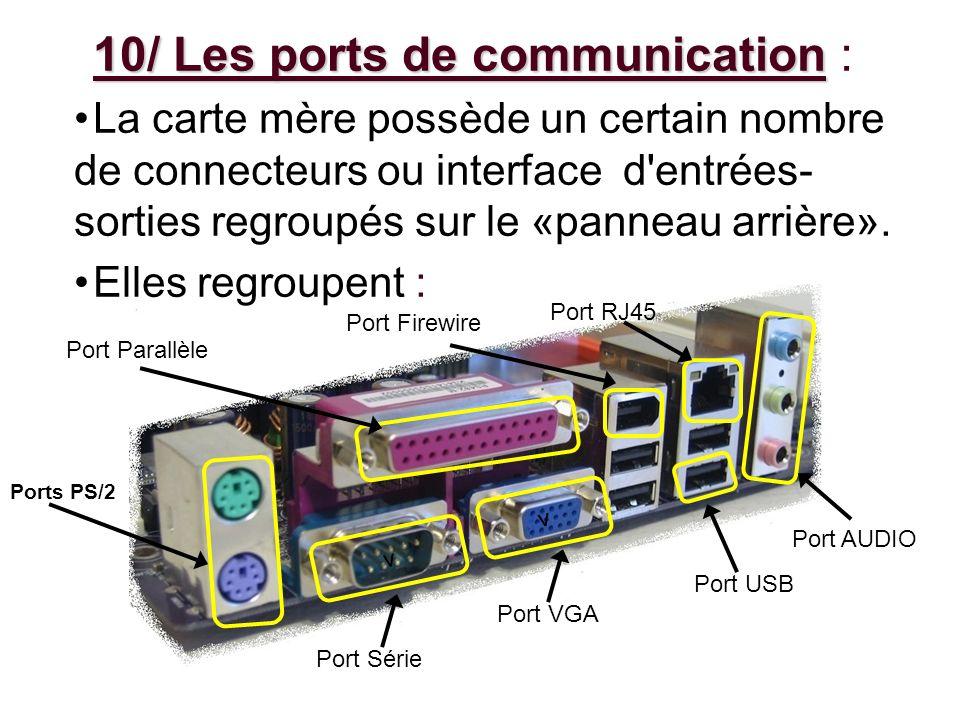 10/ Les ports de communication 10/ Les ports de communication : La carte mère possède un certain nombre de connecteurs ou interface d'entrées- sorties