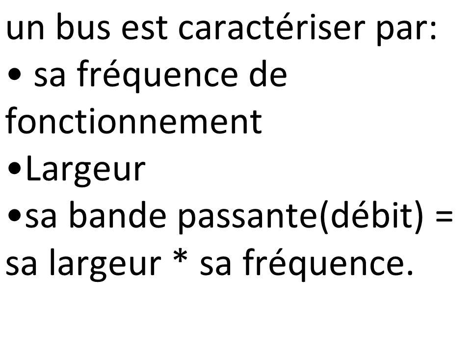 un bus est caractériser par: sa fréquence de fonctionnement Largeur sa bande passante(débit) = sa largeur * sa fréquence.