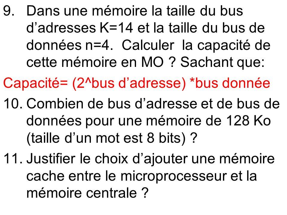 9.Dans une mémoire la taille du bus dadresses K=14 et la taille du bus de données n=4. Calculer la capacité de cette mémoire en MO ? Sachant que: Capa