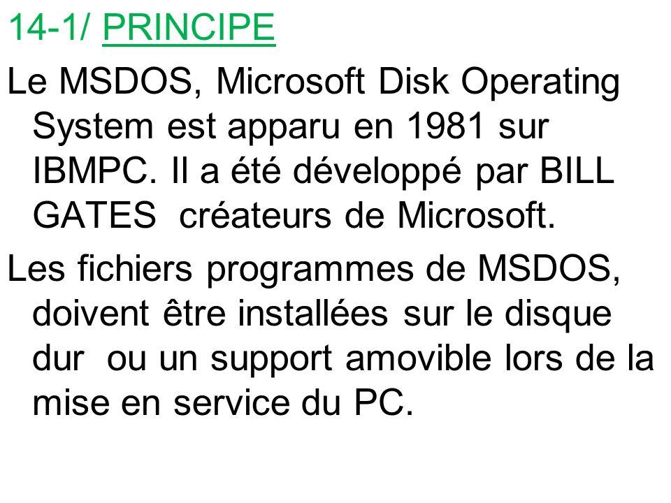 14-1/ PRINCIPE Le MSDOS, Microsoft Disk Operating System est apparu en 1981 sur IBMPC. Il a été développé par BILL GATES créateurs de Microsoft. Les f