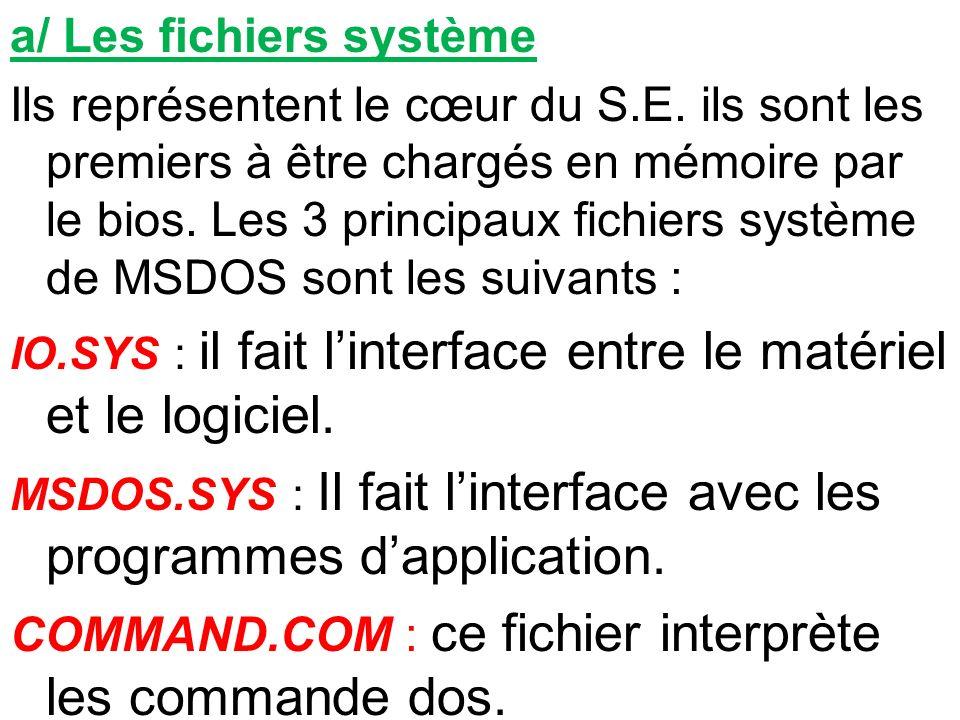 a/ Les fichiers système Ils représentent le cœur du S.E. ils sont les premiers à être chargés en mémoire par le bios. Les 3 principaux fichiers systèm