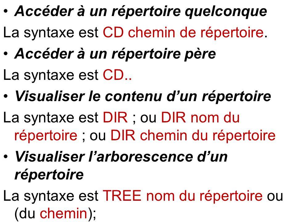 Accéder à un répertoire quelconque La syntaxe est CD chemin de répertoire. Accéder à un répertoire père La syntaxe est CD.. Visualiser le contenu dun