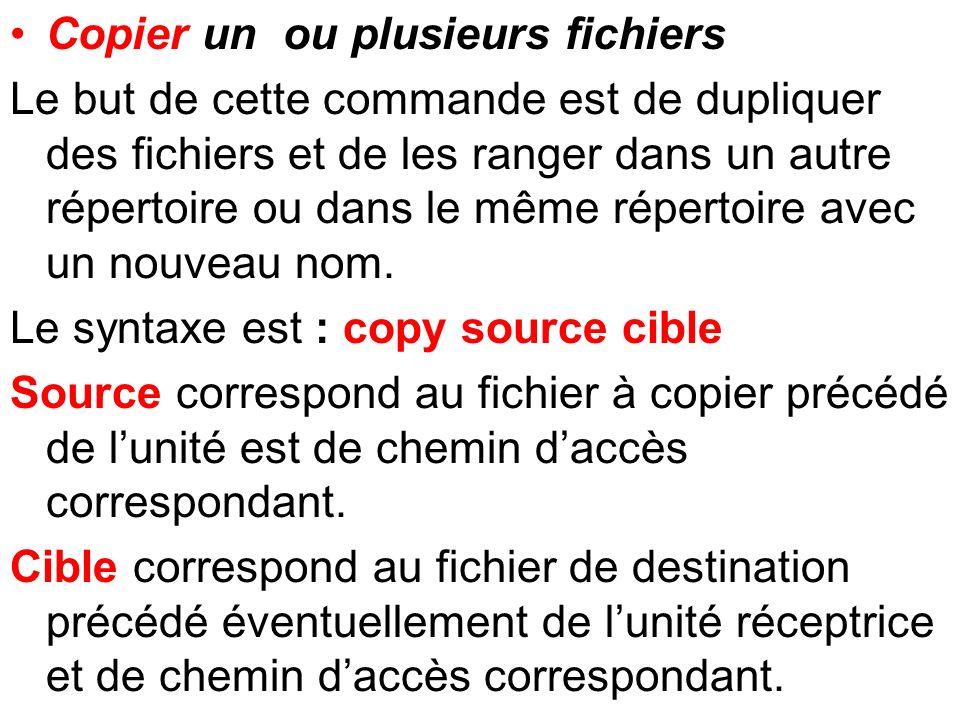 Copier un ou plusieurs fichiers Le but de cette commande est de dupliquer des fichiers et de les ranger dans un autre répertoire ou dans le même réper