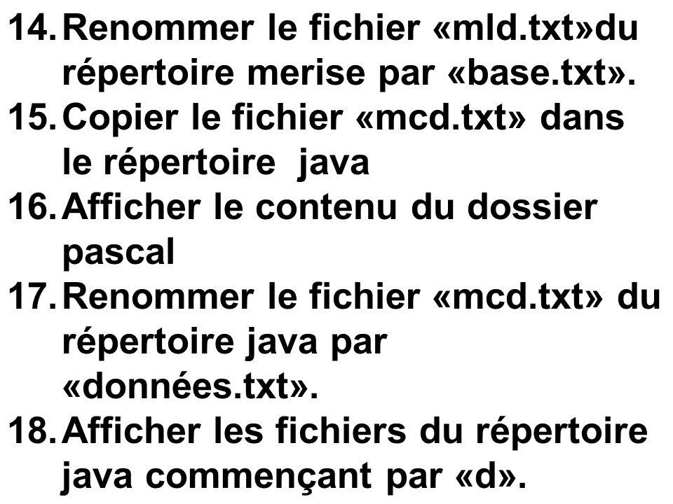 14.Renommer le fichier «mld.txt»du répertoire merise par «base.txt». 15.Copier le fichier «mcd.txt» dans le répertoire java 16.Afficher le contenu du