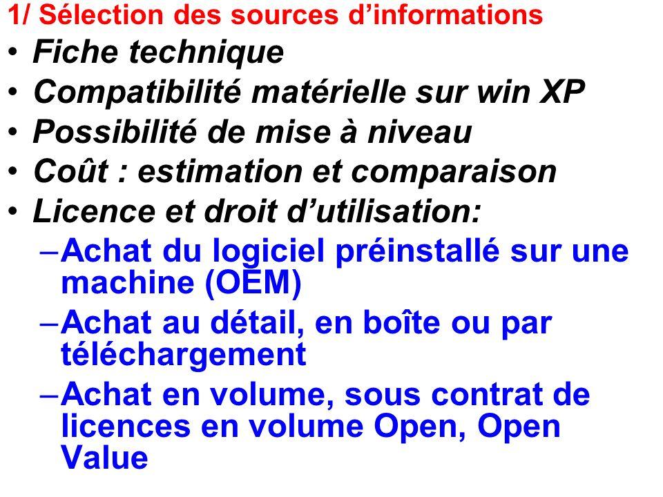 1/ Sélection des sources dinformations Fiche technique Compatibilité matérielle sur win XP Possibilité de mise à niveau Coût : estimation et comparais