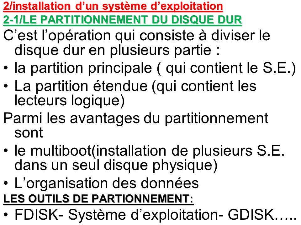 2/installation dun système dexploitation 2-1/LE PARTITIONNEMENT DU DISQUE DUR Cest lopération qui consiste à diviser le disque dur en plusieurs partie
