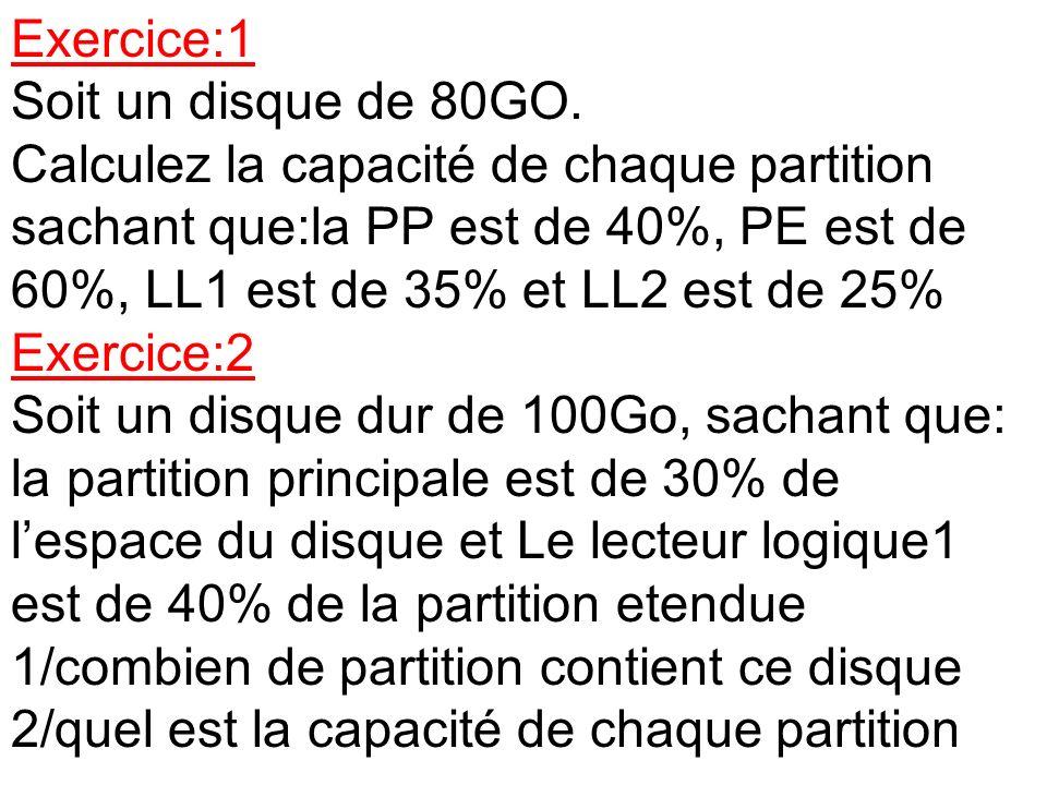 Exercice:1 Soit un disque de 80GO. Calculez la capacité de chaque partition sachant que:la PP est de 40%, PE est de 60%, LL1 est de 35% et LL2 est de