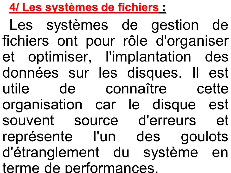 4/ Les systèmes de fichiers : Les systèmes de gestion de fichiers ont pour rôle d'organiser et optimiser, l'implantation des données sur les disques.