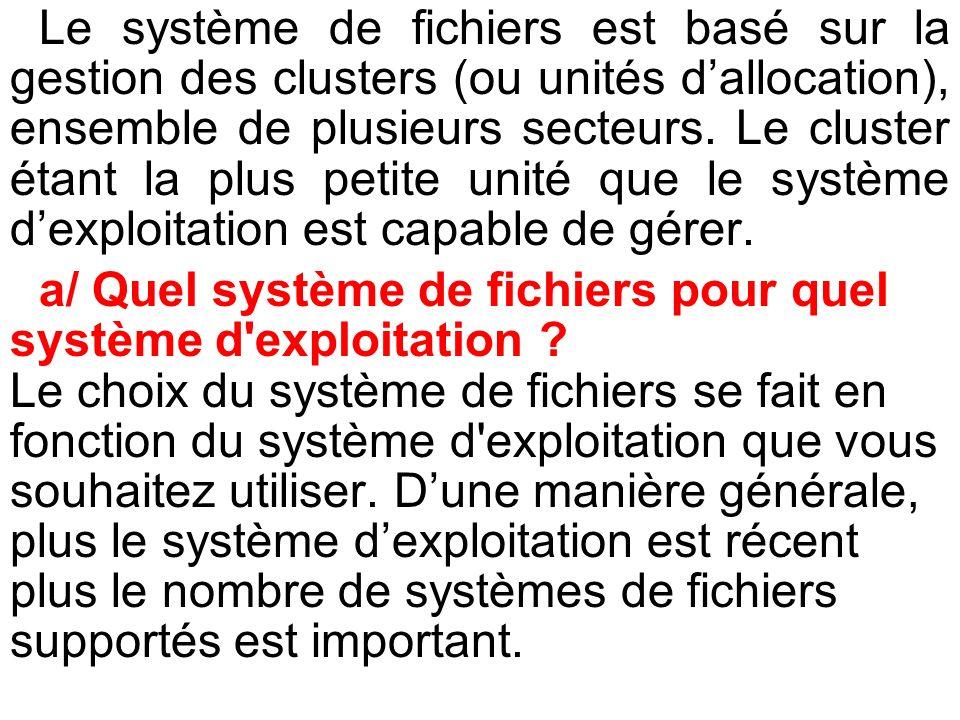 Le système de fichiers est basé sur la gestion des clusters (ou unités dallocation), ensemble de plusieurs secteurs. Le cluster étant la plus petite u