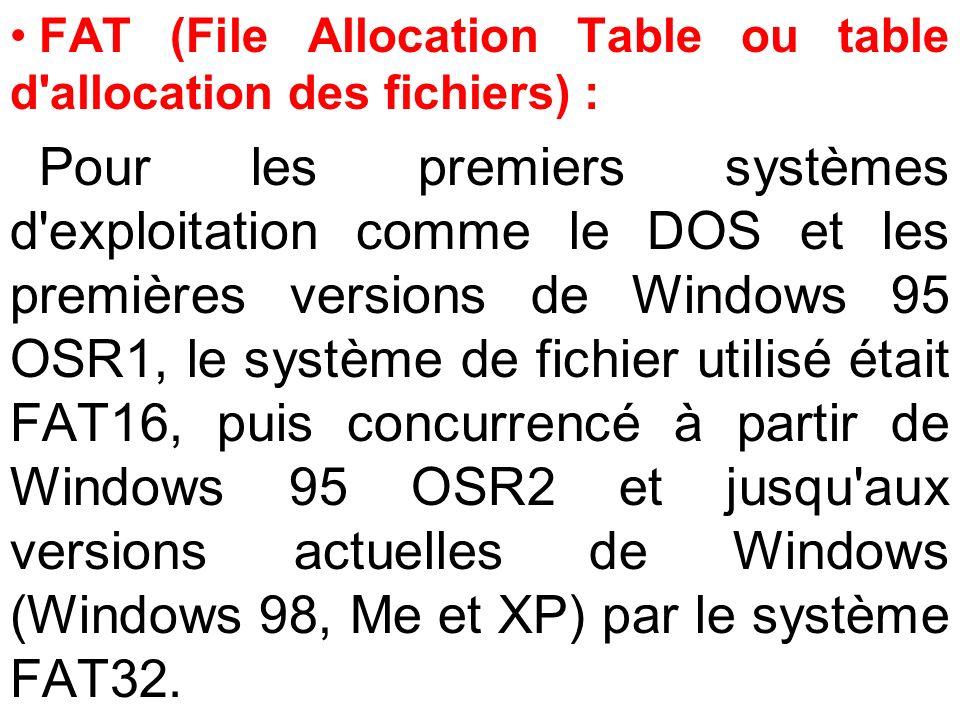 FAT (File Allocation Table ou table d'allocation des fichiers) : Pour les premiers systèmes d'exploitation comme le DOS et les premières versions de W