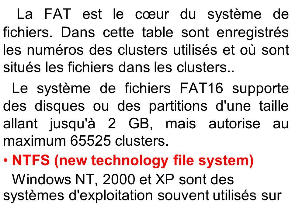 La FAT est le cœur du système de fichiers. Dans cette table sont enregistrés les numéros des clusters utilisés et où sont situés les fichiers dans les
