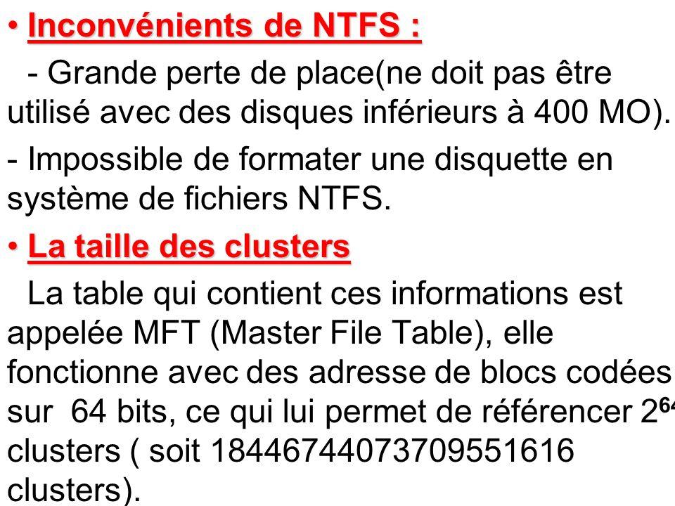 Inconvénients de NTFS :Inconvénients de NTFS : - Grande perte de place(ne doit pas être utilisé avec des disques inférieurs à 400 MO). -Impossible de
