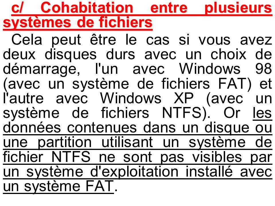 c/ Cohabitation entre plusieurs systèmes de fichiers Cela peut être le cas si vous avez deux disques durs avec un choix de démarrage, l'un avec Window