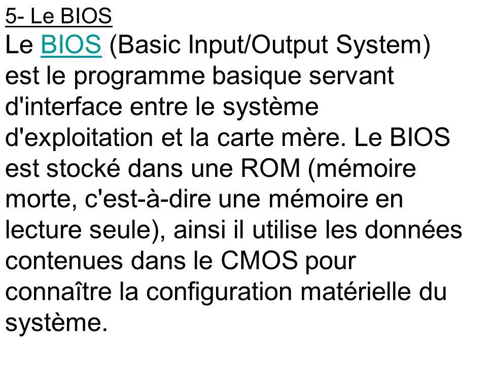 5- Le BIOS Le BIOS (Basic Input/Output System) est le programme basique servant d'interface entre le système d'exploitation et la carte mère. Le BIOS