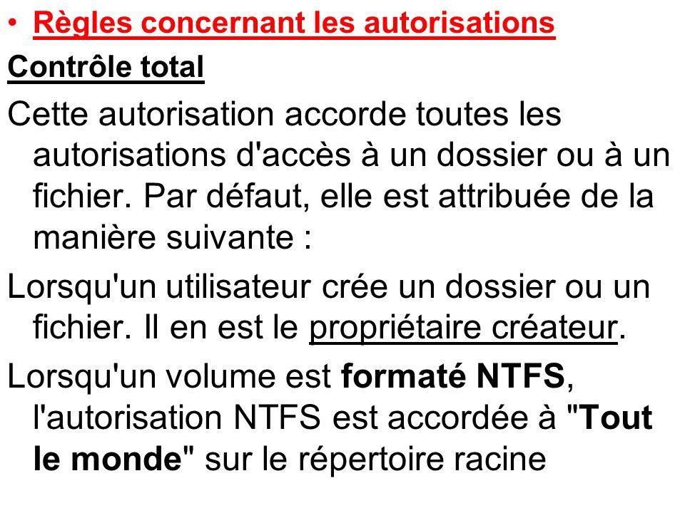 Règles concernant les autorisations Contrôle total Cette autorisation accorde toutes les autorisations d'accès à un dossier ou à un fichier. Par défau