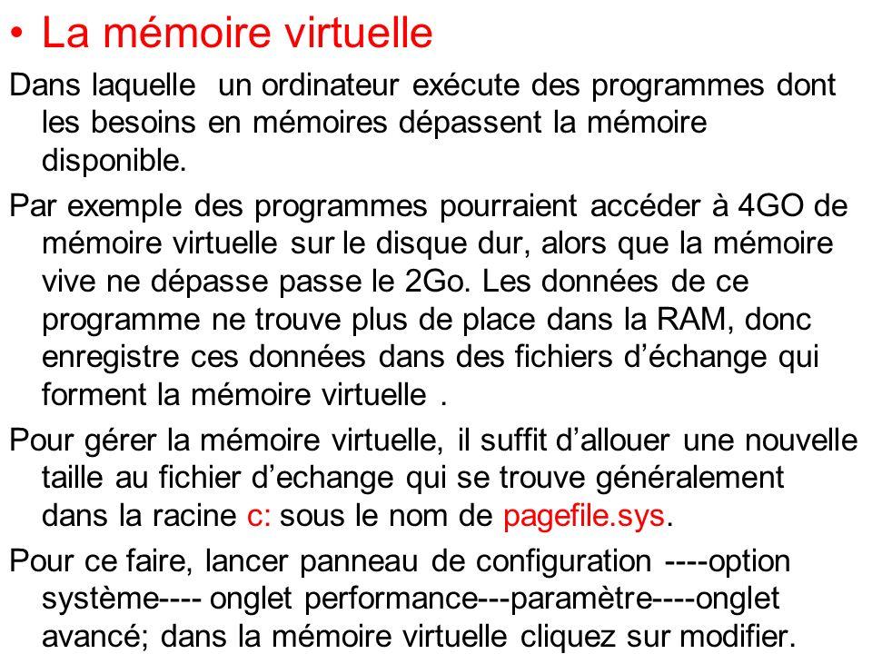 La mémoire virtuelle Dans laquelle un ordinateur exécute des programmes dont les besoins en mémoires dépassent la mémoire disponible. Par exemple des
