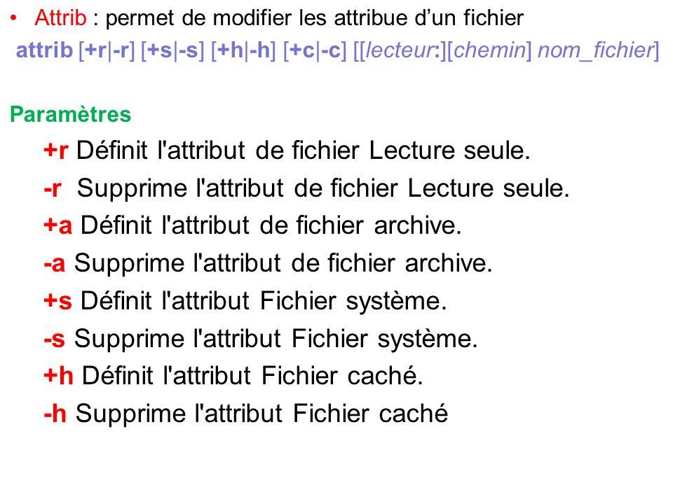 Attrib : permet de modifier les attribue dun fichier attrib [+r|-r] [+s|-s] [+h|-h] [+c|-c] [[lecteur:][chemin] nom_fichier] Paramètres +r Définit l'a