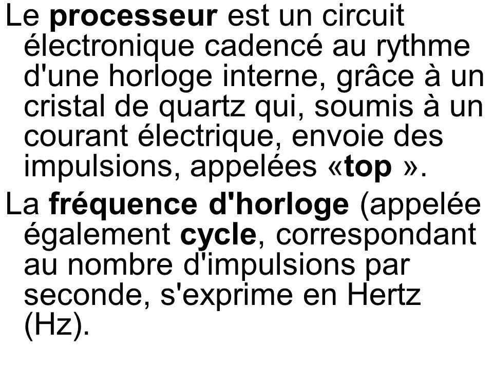 Le processeur est un circuit électronique cadencé au rythme d'une horloge interne, grâce à un cristal de quartz qui, soumis à un courant électrique, e