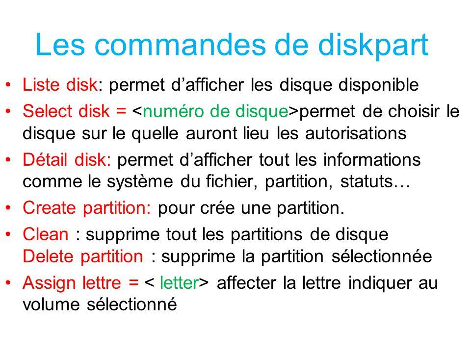 Les commandes de diskpart Liste disk: permet dafficher les disque disponible Select disk = permet de choisir le disque sur le quelle auront lieu les a