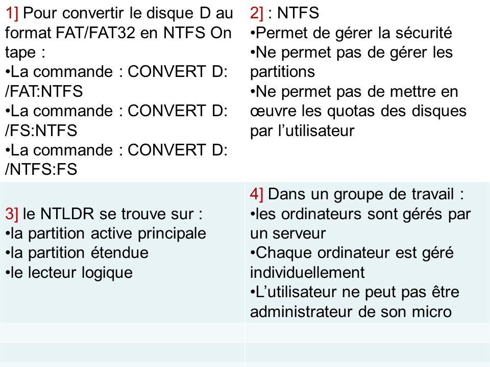 1] Pour convertir le disque D au format FAT/FAT32 en NTFS On tape : La commande : CONVERT D: /FAT:NTFS La commande : CONVERT D: /FS:NTFS La commande :