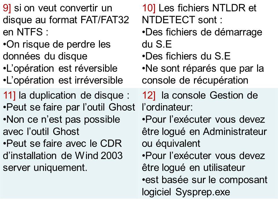 9] si on veut convertir un disque au format FAT/FAT32 en NTFS : On risque de perdre les données du disque Lopération est réversible Lopération est irr