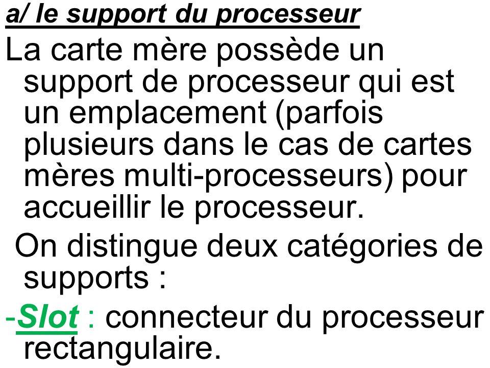 a/ le support du processeur La carte mère possède un support de processeur qui est un emplacement (parfois plusieurs dans le cas de cartes mères multi