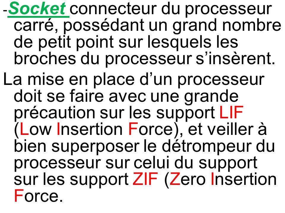 - Socket connecteur du processeur carré, possédant un grand nombre de petit point sur lesquels les broches du processeur sinsèrent. La mise en place d