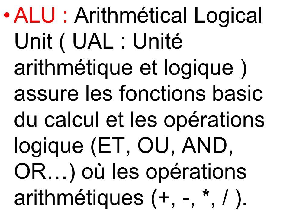 ALU : Arithmétical Logical Unit ( UAL : Unité arithmétique et logique ) assure les fonctions basic du calcul et les opérations logique (ET, OU, AND, O