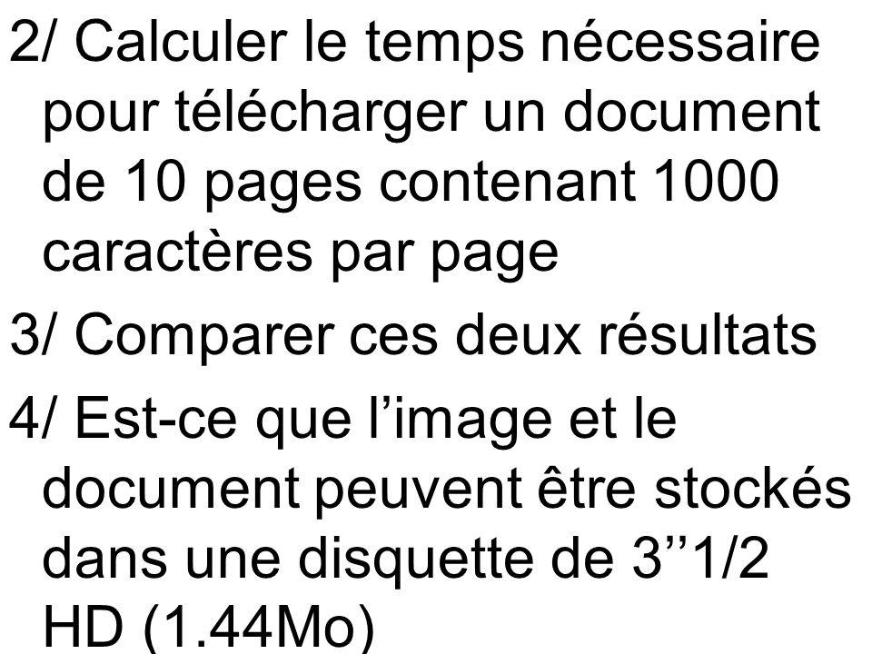 2/ Calculer le temps nécessaire pour télécharger un document de 10 pages contenant 1000 caractères par page 3/ Comparer ces deux résultats 4/ Est-ce q