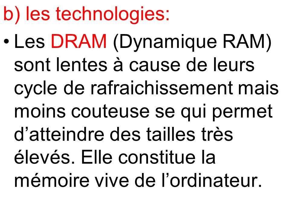 b) les technologies: Les DRAM (Dynamique RAM) sont lentes à cause de leurs cycle de rafraichissement mais moins couteuse se qui permet datteindre des