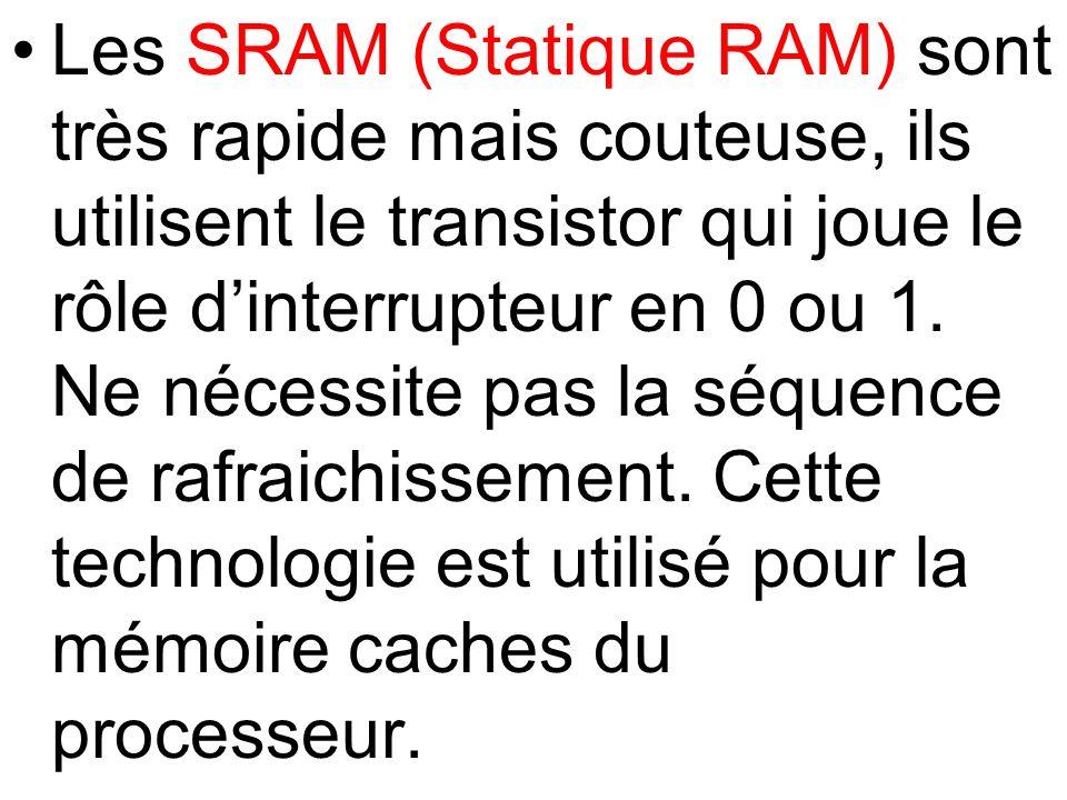 Les SRAM (Statique RAM) sont très rapide mais couteuse, ils utilisent le transistor qui joue le rôle dinterrupteur en 0 ou 1. Ne nécessite pas la séqu