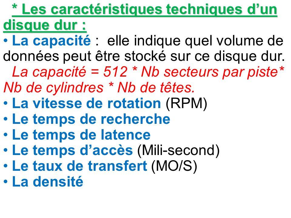 * Les caractéristiques techniques dun disque dur : La capacité : elle indique quel volume de données peut être stocké sur ce disque dur. La capacité =