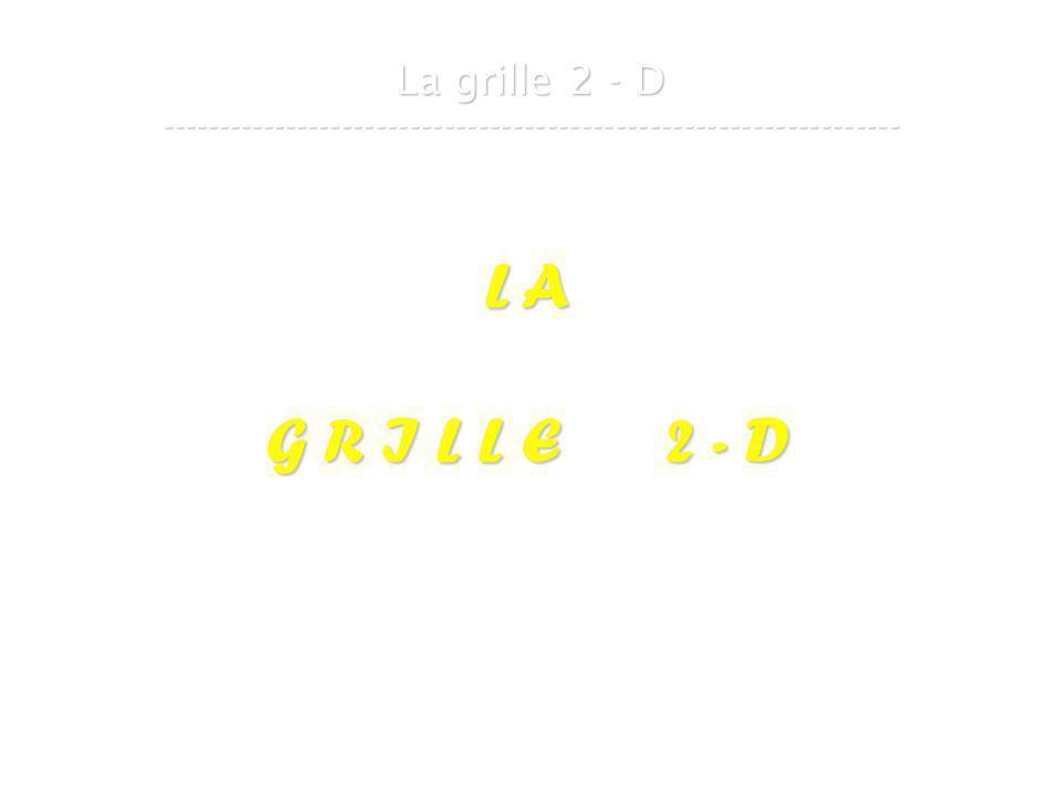 21 mars 2007Cours de graphes 8 - Intranet22 La grille 2 - D ----------------------------------------------------------------- L A G R I L L E 2 - D