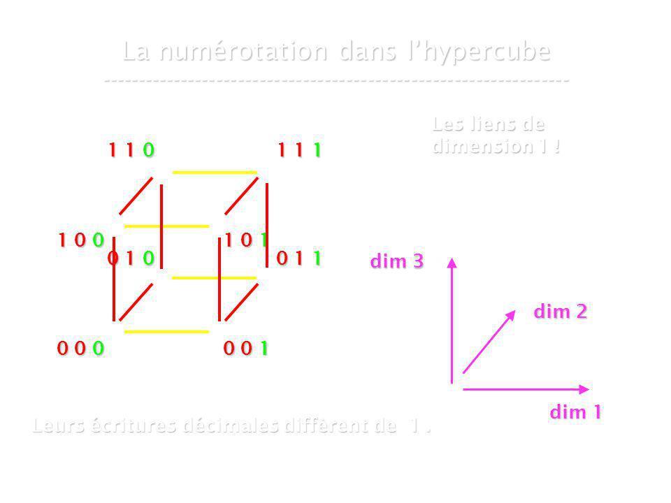 21 mars 2007Cours de graphes 8 - Intranet46 La numérotation dans lhypercube ----------------------------------------------------------------- 0 0 0 0 0 1 0 1 0 0 1 1 1 0 0 1 0 1 1 1 0 1 1 1 Les liens de dimension 1 .
