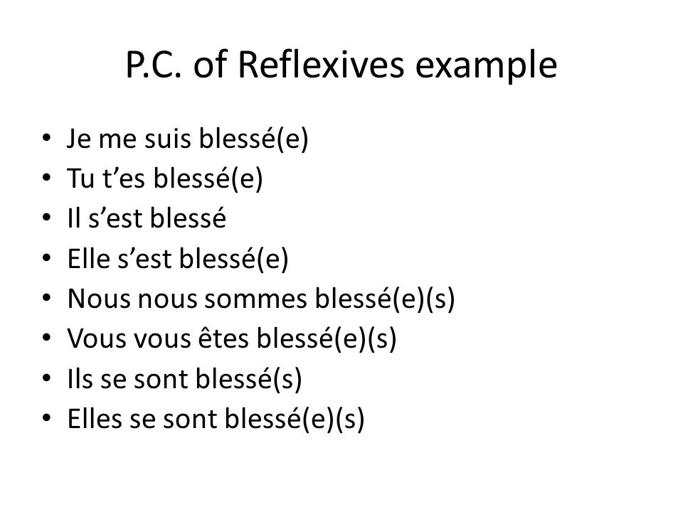 The passé composé of reflexive verbs To make a reflexive verb negative in the passé composé, place the ne before the reflexive pronoun and pas after the auxiliary verb.