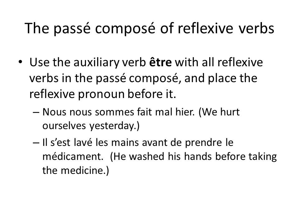 The passé composé of reflexive verbs Use the auxiliary verb être with all reflexive verbs in the passé composé, and place the reflexive pronoun before