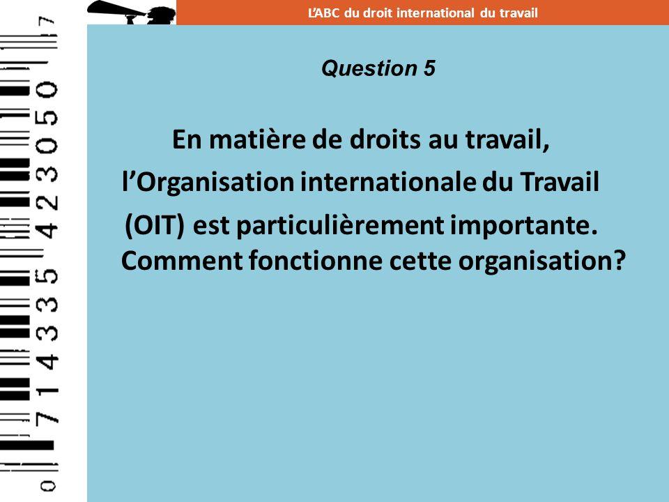 En matière de droits au travail, lOrganisation internationale du Travail (OIT) est particulièrement importante. Comment fonctionne cette organisation?