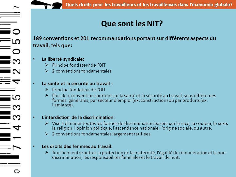 Que sont les NIT? 189 conventions et 201 recommandations portant sur différents aspects du travail, tels que: La liberté syndicale: Principe fondateur