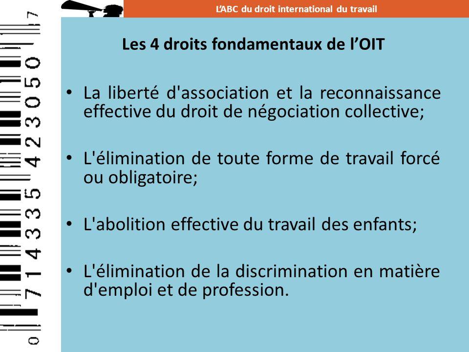 Les 4 droits fondamentaux de lOIT La liberté d'association et la reconnaissance effective du droit de négociation collective; L'élimination de toute f