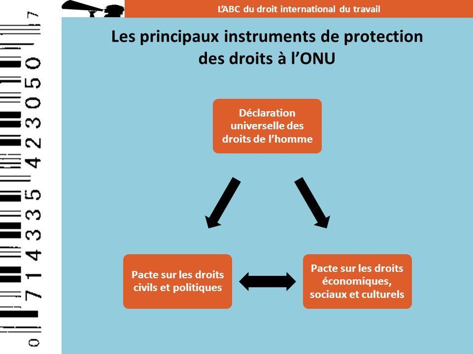 Les principaux instruments de protection des droits à lONU LABC du droit international du travail Déclaration universelle des droits de lhomme Pacte s
