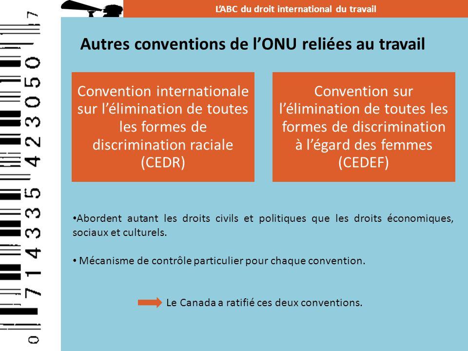 Autres conventions de lONU reliées au travail LABC du droit international du travail Abordent autant les droits civils et politiques que les droits éc