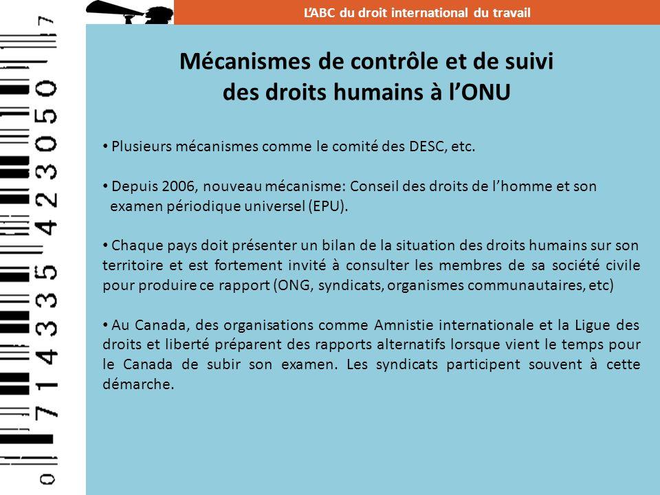 Mécanismes de contrôle et de suivi des droits humains à lONU LABC du droit international du travail Plusieurs mécanismes comme le comité des DESC, etc